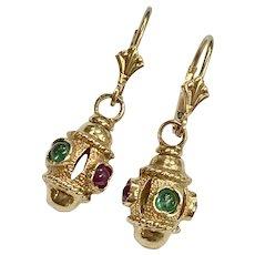 Ruby & Emerald Vintage Dangle Earrings 14K Gold