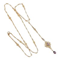 Amazing Victorian Lavaliere Necklace Amethyst, Seed Pearl 10K Gold