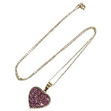 Ruby Encrusted Heart 1.19 Carats tw Pendant/Necklace 10 & 14K Gold