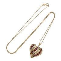 Ruby & Diamond Heart 1.16 Carats tw Pendant/Necklace 10K Gold