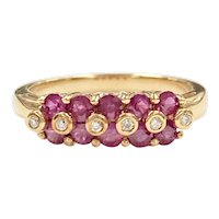 Ruby & Diamond .66 Carats tw Band Ring 18K Gold