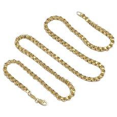 """Quadruple Link Chain Necklace 14K Gold 19"""" Length 7.5 Grams"""