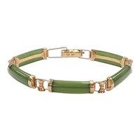 Jade & 14K Rose Gold Vintage Bracelet