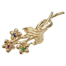 Floral Brooch 14K Gold, Sapphire, Emerald & Ruby