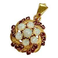 Vintage Opal & Ruby Pendant 14K Gold