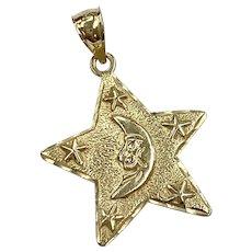 Celestial Vintage Charm Moon & Stars 14K Gold