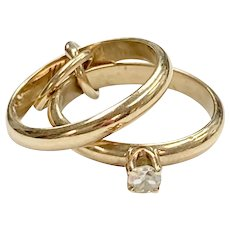Diamond Engagement Ring & Band Vintage CHARMS 14K Gold