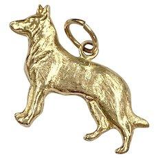 German Shepherd Vintage Charm 14K Gold