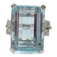 BIG Aquamarine & Diamond Ring 21.54 Carats tgw 14K White Gold