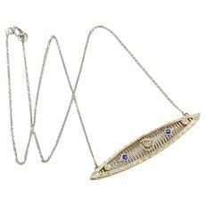 Art Deco Bar Pin Necklace Diamond & Sapphire .43 Carat tgw 14K White Gold