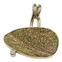 Modernist Custom Pendant Druzy Quartz & Diamond 14K Two-Tone Gold