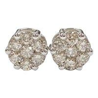 Diamond Cluster Stud Earrings 1.40 Carats tw 14k White Gold, 7.6 Carat LOOK