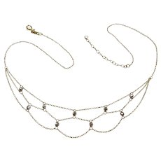 Festoon Bead Accent Necklace 10K Yellow & White Gold, Adjustable Length