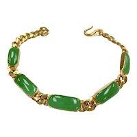 Luxurious Apple Green Jade & 24K Gold Bracelet