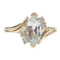 Aquamarine & Diamond Ring .88 Carat tgw 14K Gold