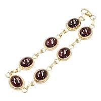 Garnet Cabochon Vintage Bracelet 28.7 Carats 14K Gold, by CARLA
