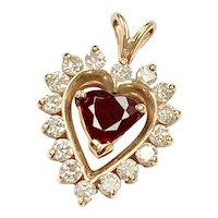 Ruby & Diamond HEART Pendant 1.23 Carats tw 14K Gold