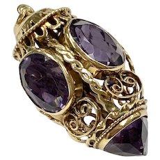 BIG Jeweled Bauble Charm / Pendant 14K Gold, Amethyst 22.0 Carats