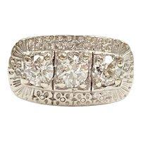 Vintage Three Diamond Ring 1.22 Carat tw 14K White Gold