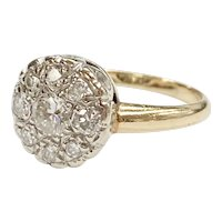 Vintage Diamond Cluster .77 Carat tw Solitaire Illusion Ring 14K Two-Tone Gold