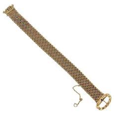 Victorian Mesh Link Buckle or Garter Bracelet 14K Gold