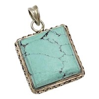 South-West Turquoise & Sterling Silver Square Pendant