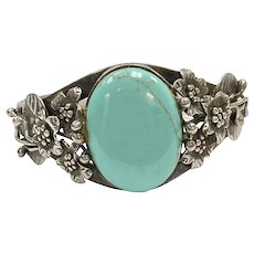 Native American Crafted Bracelet Sterling Silver & Turquoise