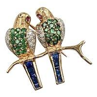 Jeweled Lovebird Brooch/Pin 14K Gold, Diamond, Sapphire, Ruby & Emerald
