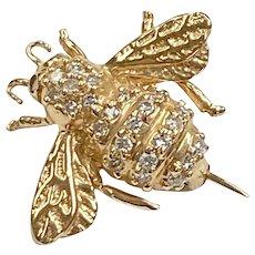 Diamond BEE Pin / Brooch 14K Gold .52 Carat tw