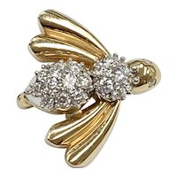 Contemporary Diamond BEE Brooch 1.06 Carat tw 14K Two-Tone Gold