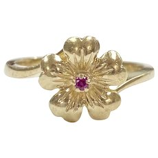 Forget Me Not Flower Ring Ruby Accent 14K Gold