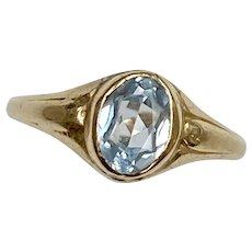 Vintage Sky Blue Topaz Solitaire Ring 1.0 Carat 10K Gold