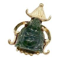 Carved Jade Small Buddha Pendant 14K Gold