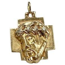 Jesus Cross Pendant 14K Gold Diamond Accent