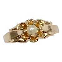 Victorian Cultured Pearl Solitaire Petite Ring 14K Gold