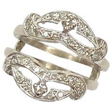 Vintage Diamond Guard .38 Carat tw Ring 14K White Gold
