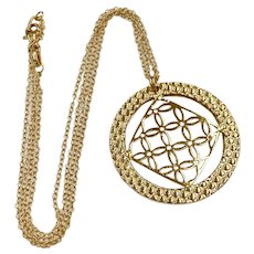 """Bold Statement Pendant/Necklace 18K Gold Double Cable 17"""""""