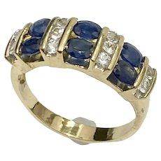Natural Sapphire & Diamond 2.50 Carat tw Band Ring 14K Gold