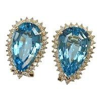 Blue Topaz Diamond Halo 15.10 Carats tgw Earrings 14K Gold