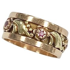 Retro Floral Ruby Wide Band Ring 14K Rose & Yellow Gold, Size 7