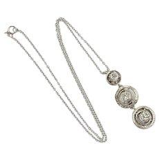 Art Deco Diamond Three-Stone Pendant .99 Carat tw 14K White Gold