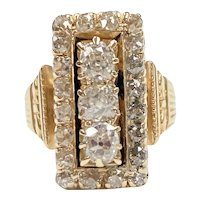 Victorian Diamond Ring 1.75 Carats tw 18K Gold, Old Mine Cut