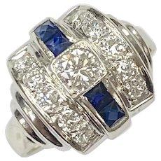 Art Deco Diamond & Sapphire Ring .91 Carats tgw 14K White Gold