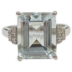 Aquamarine & Diamond Vintage Ring 4.40 Carat tw 14K White Gold