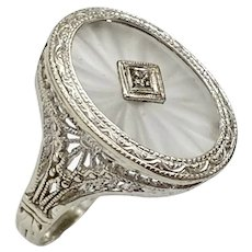 Art Deco Rock Crystal & Diamond Ring 14K White Gold Filigree