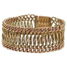 Retro Wide Woven Bracelet 14K Rose & Yellow Gold, 31.2 Grams