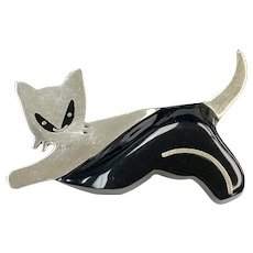 Stretching CAT Vintage Brooch Sterling Silver & Onyx, Mexico