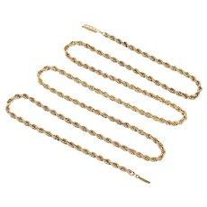 "Vintage Rope Link Chain Necklace 14K Gold 27"" Length 9.2 Grams"