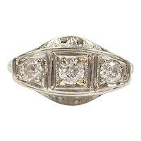 Art Deco 3 Diamond .31 Carat tw Filigree Ring 18K White Gold