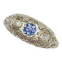 Art Deco Ceylon Sapphire & Diamond Ring 18K White Gold
